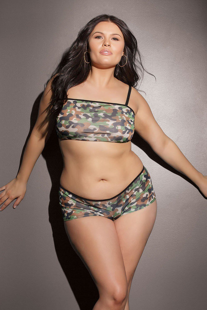 Camo Bralette and Booty Shorts Set