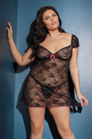 Cap Sleeve Floral Lace Dress Lingerie & Clothing > Lingerie Coquette