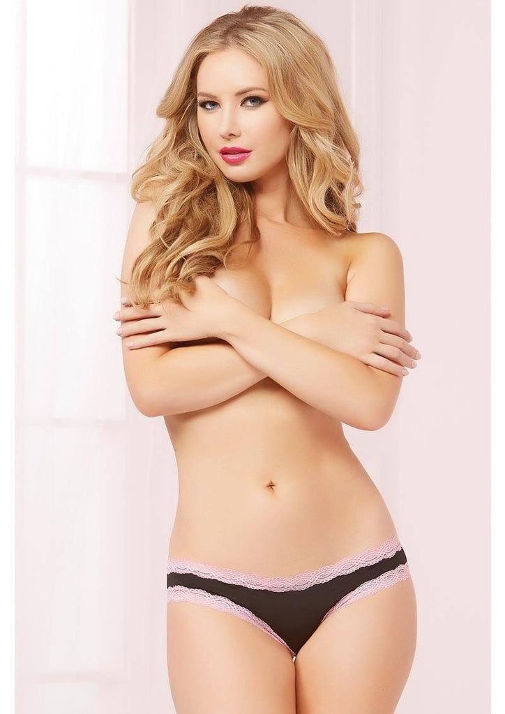 Cheri Lace and Microfiber Panty Lingerie & Clothing > Panties Seven 'Til Midnight Pink and Black Small