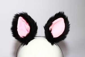 Clip-On Wolf Ears on Metal Headband Lingerie & Clothing > Accessories Touch of Fur Black