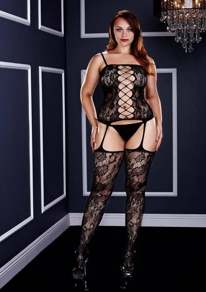 Corset Front Suspender Bodystocking, Queen
