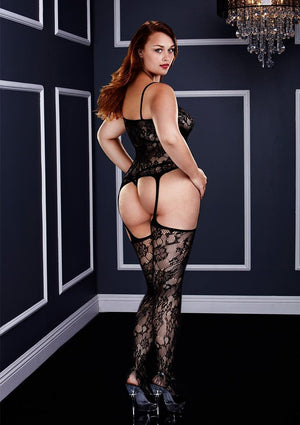 Corset Front Suspender Bodystocking, Queen Lingerie & Clothing > Bodystocking 1X-4X Baci Lingerie