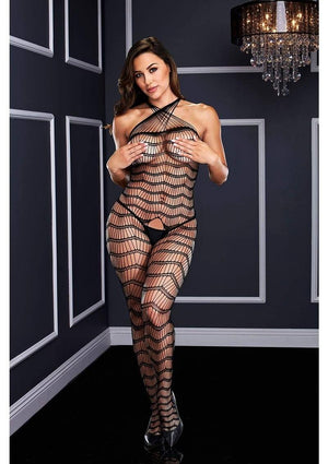 Criss Cross Crotchless Halter Bodystocking Lingerie & Clothing > Bodystocking Baci Lingerie