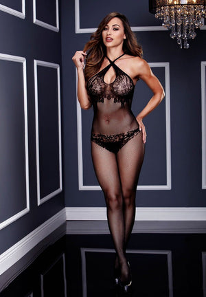 Criss-Cross Lace Crotchless Bodystocking Lingerie & Clothing > Bodystocking Baci Lingerie