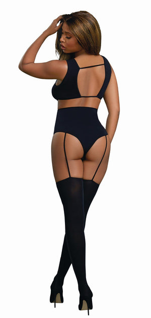 Criss-Cross Neckline Teddy Bodystocking Lingerie & Clothing > Bodystocking Dreamgirl International Lingerie
