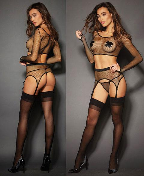 Crop Top, Garter Belt and G-String Set
