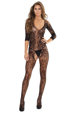 Crotchless Floral Lace Bodystocking Lingerie & Clothing > Bodystocking Coquette
