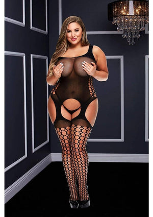 Crotchless Garter Bubble Net Bodystocking (Queen) Lingerie & Clothing > Bodystocking 1X-4X Baci Lingerie