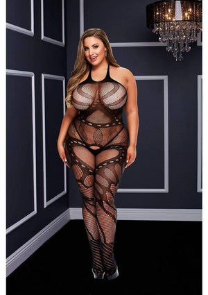 Crotchless Jacquard Bodystocking (Queen) Lingerie & Clothing > Bodystocking 1X-4X Baci Lingerie