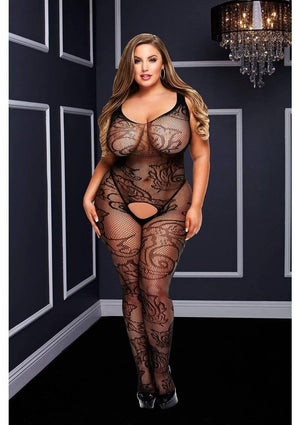 Crotchless Net Jacquard Bodystocking (Queen) Lingerie & Clothing > Bodystocking 1X-4X Baci Lingerie