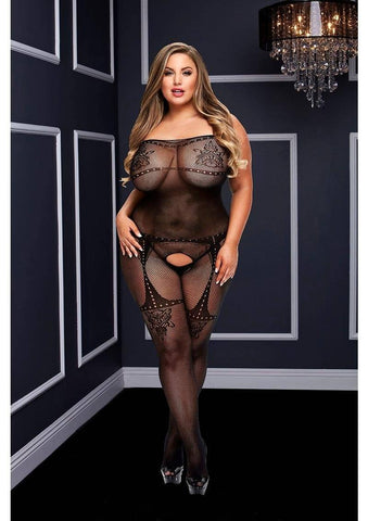 Crotchless Tank Top Jacquard Bodystocking (Queen)