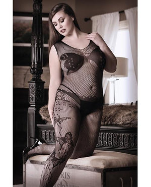 Dark Monarch Butterfly Knit Bodystocking - Plus Lingerie & Clothing > Bodystocking 1X-4X Fantasy Lingerie
