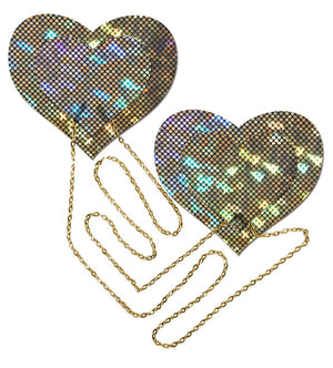 Disco Ball Hearts with Gold Chains Pasties Lingerie & Clothing > Accessories Pastease Gold Hologram