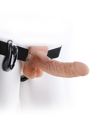 "Fetish Fantasy 7"" Vibe Hollow Strap-On with Balls Penis Extensions Pipedream"