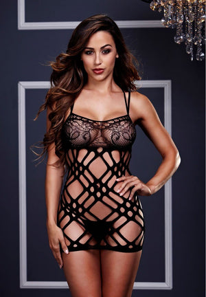 Fishnet and Floral Mini Dress Lingerie & Clothing > Bodystocking Baci Lingerie