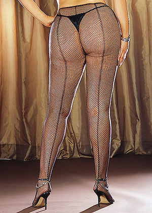 Fishnet Pantyhose w/ Back Seam Queen Lingerie & Clothing > Hosiery 1X - 4X Dreamgirl International Lingerie