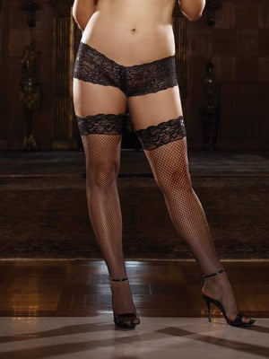 Fishnet Stay Up Thigh High with Back Seam Queen Lingerie & Clothing > Hosiery 1X - 4X Dreamgirl International Lingerie