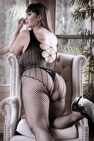 Fishnet Teddy Criss Cross Bodystocking Lingerie & Clothing > Bodystocking 1X-4X Fantasy Lingerie