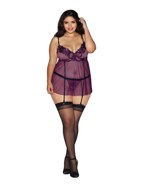 Flora Mesh Babydoll Queen Lingerie & Clothing > Lingerie 1X-4X Dreamgirl International Lingerie