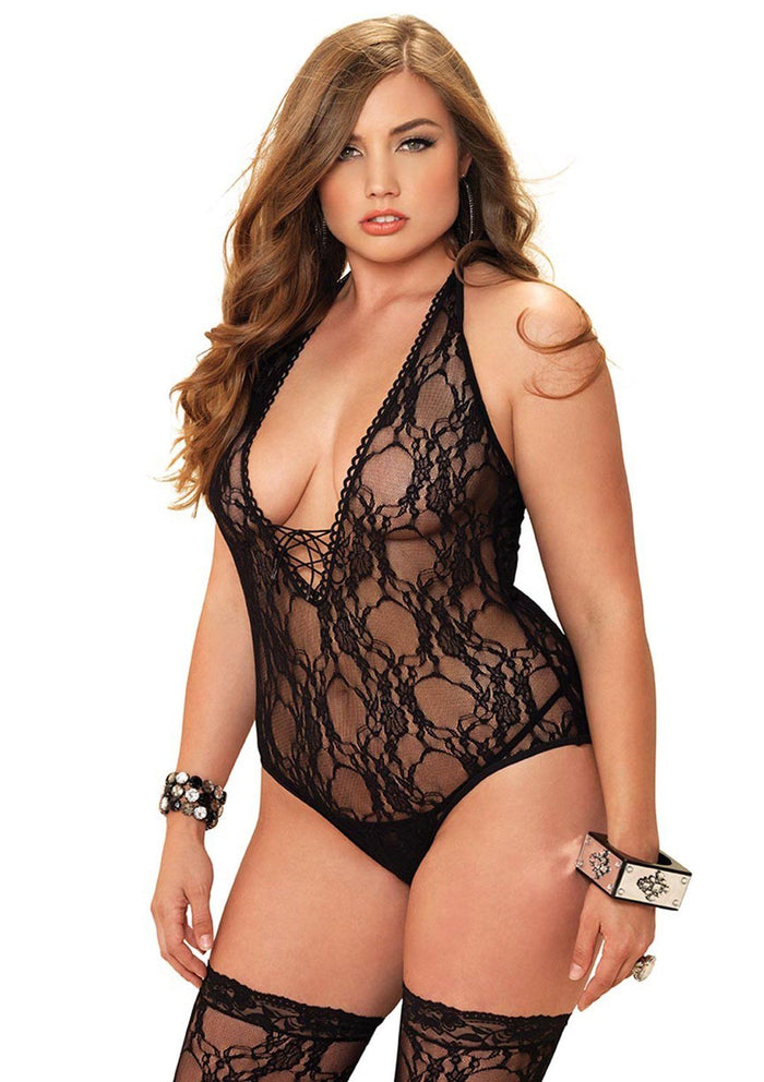 Floral Lace Teddy with Stockings