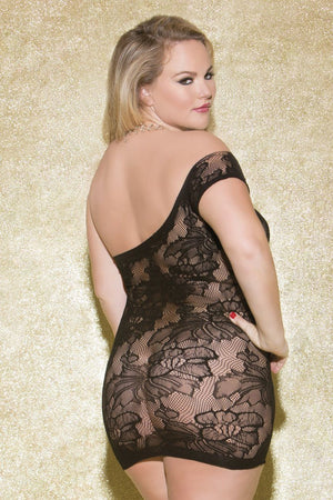 Floral Mini Dress with One-Sided Sleeve (Queen) Lingerie & Clothing > Lingerie 1X-4X Glitter