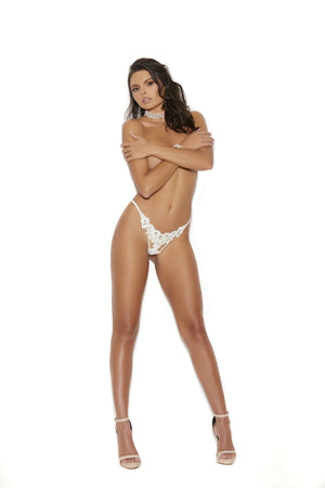 G-string with embroidered applique and pearl accents Lingerie & Clothing > Panties Elegant Moments