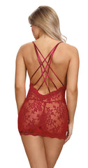 Garnet Criss Cross Chemise Lingerie & Clothing > Lingerie Small-XL Dreamgirl International Lingerie