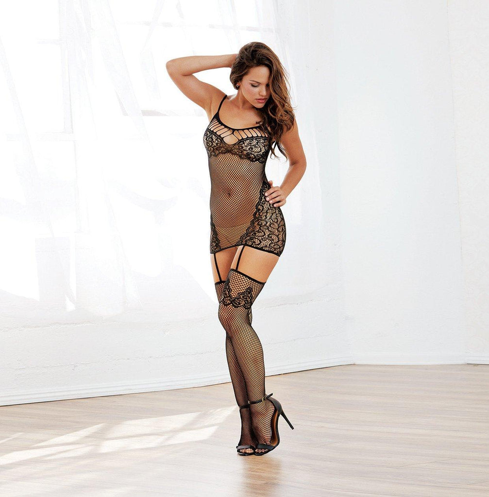 Garterdress with Strappy Neckline Lingerie & Clothing > Bodystocking S - XL Dreamgirl International Lingerie