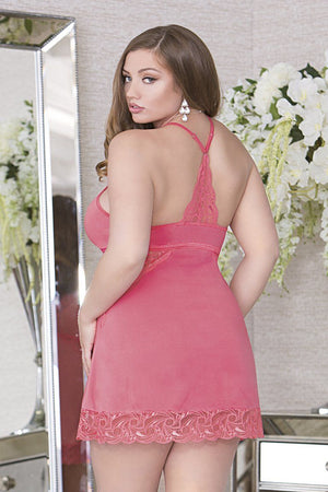 Halter A-Line Chemise with Lace Panels Lingerie & Clothing > Lingerie 1X-4X iCollection Lingerie