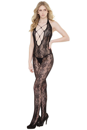 Halter Lace Bodystocking with Plunging Neckline Lingerie & Clothing > Bodystocking S - XL Coquette