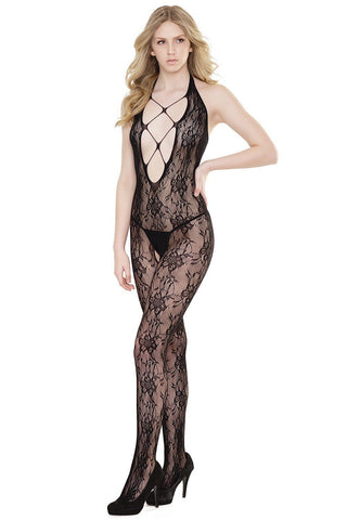 Halter Lace Bodystocking with Plunging Neckline
