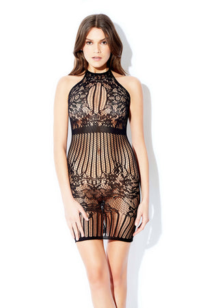 Halter Striped Mesh Chemise Lingerie & Clothing > Bodystocking Hauty