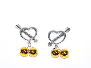 Heart Shaped Nipple Clamps with Gold Bells BDSM > Nipple and Clitoral Touch of Fur
