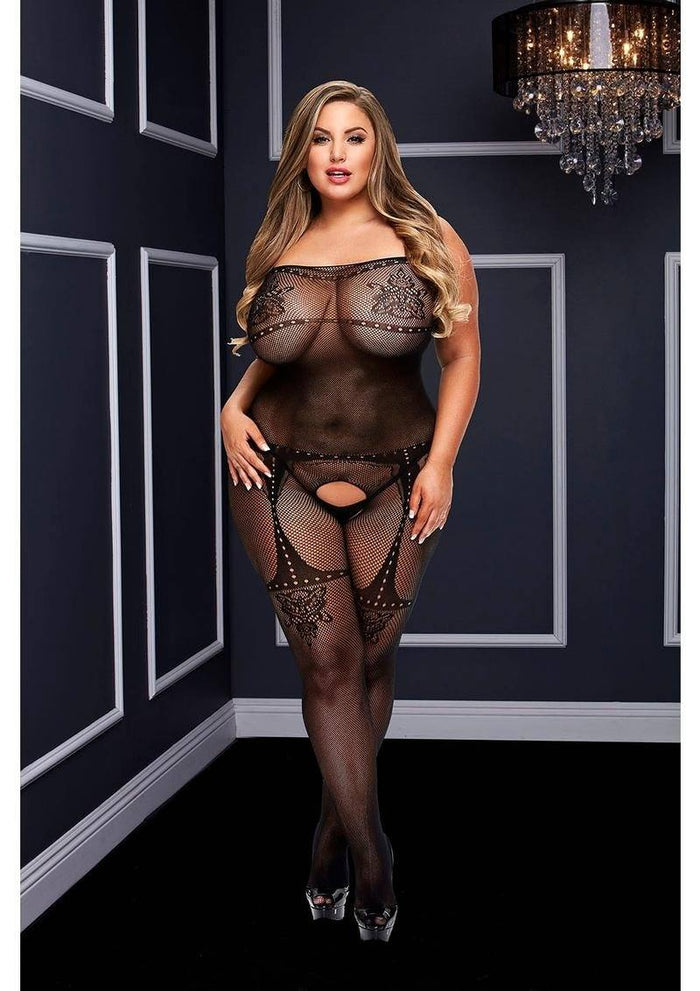 Jacquard Crotchless Tank Top Bodystocking