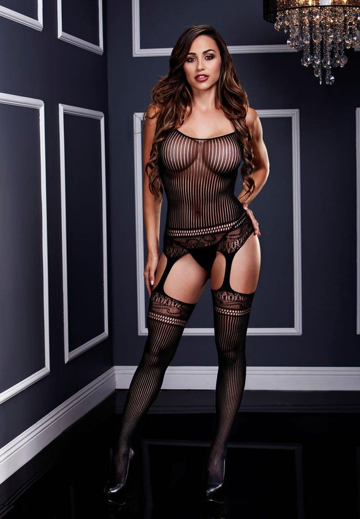 Jaquard Lace Suspender Bodysuit Lingerie & Clothing > Bodystocking S - XL Baci Lingerie