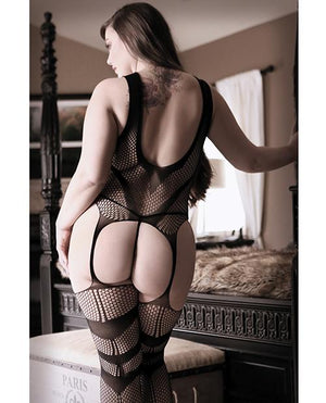 Keyhole Front Net Bodystocking Lingerie & Clothing > Bodystocking 1X-4X Fantasy Lingerie