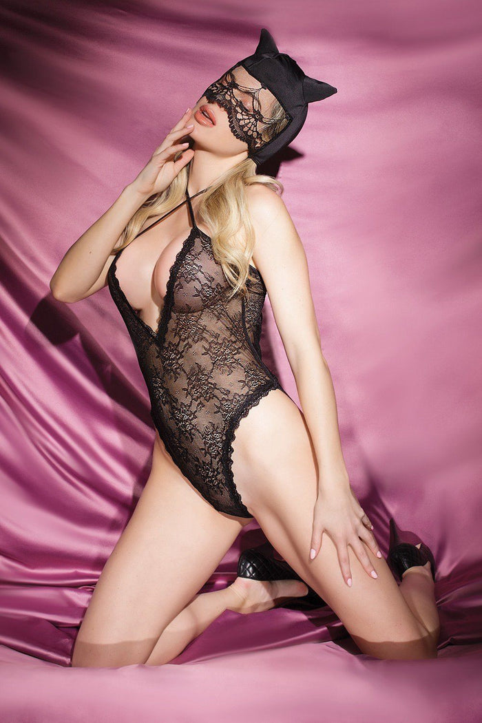 Kitty Lace Crotchless Teddy with Cat Mask