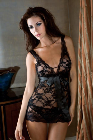 Lace Chemise with Two Interchangeable Ribbons Lingerie & Clothing > Lingerie Small-XL iCollection Lingerie