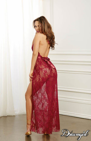 Lace Halter Gown, Garnet Lingerie & Clothing > Lingerie Small-XL Dreamgirl International Lingerie