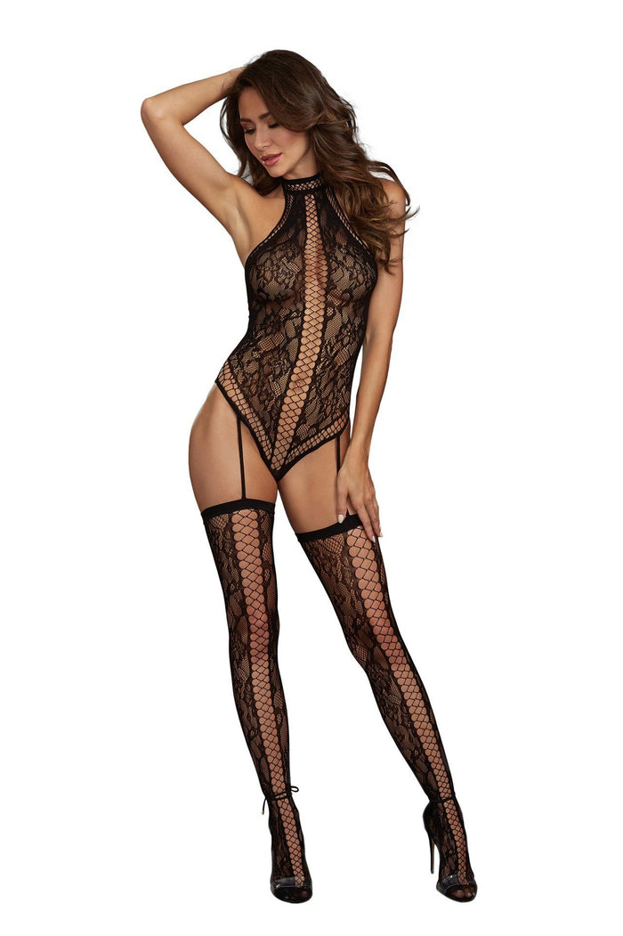 Lace Teddy Bodystocking with Criss-Cross Details