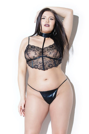 Lace Top with Choker and Wet Look G-String Lingerie & Clothing > Lingerie Coquette