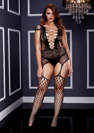 Laced-Up Bodystocking and Fishnet Garter Set Lingerie & Clothing > Bodystocking Baci Lingerie
