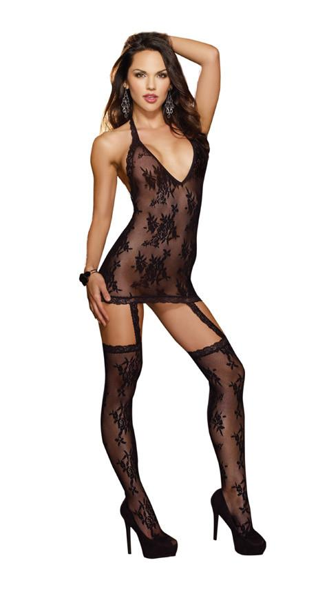 Lacy Halter Dress and Stockings Lingerie & Clothing > Bodystocking S - XL Dreamgirl International Lingerie Black