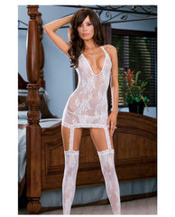 Lacy Halter Dress and Stockings Lingerie & Clothing > Bodystocking S - XL Dreamgirl International Lingerie White