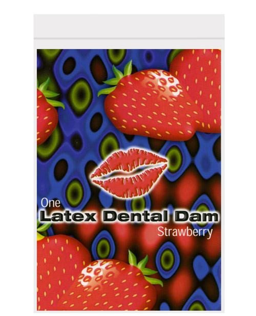 Strawberry Flavored Latex Dental Dam Condoms & Safe Sex Line One Laboratories