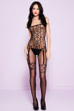 Leopard Print Bodystocking Lingerie & Clothing > Bodystocking Music Legs