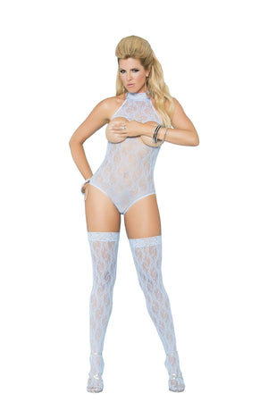Light Blue Cupless Lace Teddy with Stockings Lingerie & Clothing > Lingerie 1X-4X Elegant Moments