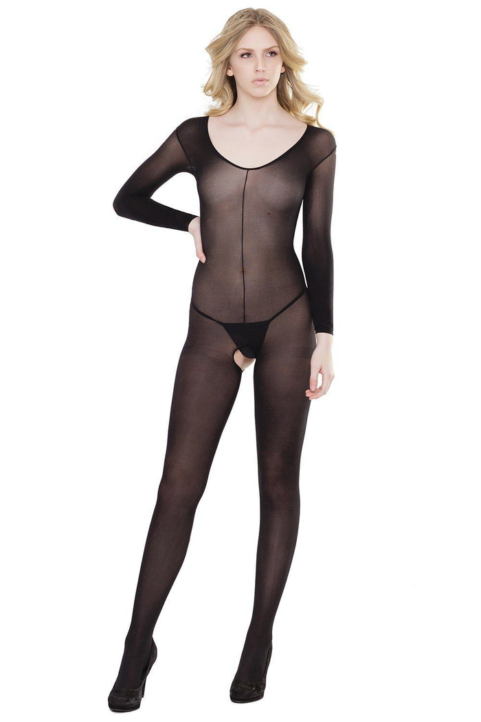 Long Sleeve Crotchless Bodystocking with Mid-Seam