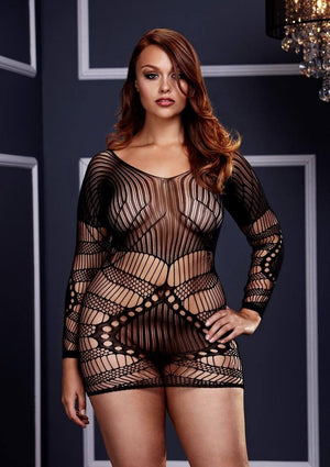Long Sleeved Lace Mini Dress Lingerie & Clothing > Bodystocking Baci Lingerie