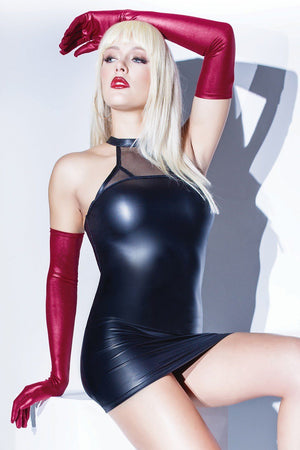 Merlot Matte Wet Look Gloves Lingerie & Clothing > Accessories Coquette